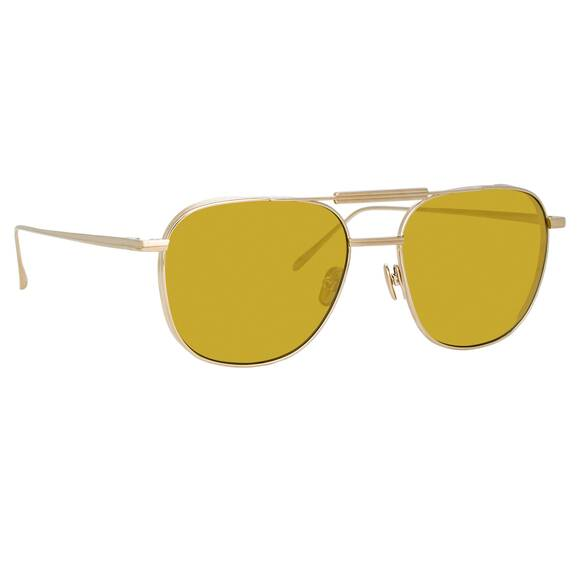Linda Farrow WILDER AVIATOR Sunglasses In Yellow Gold