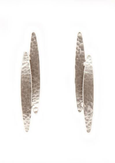 Earrings Silver Koyo, dipped in a Silver bath, Silver