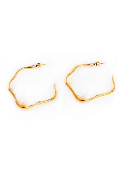 Earrings Loop with Pearls, gold plated