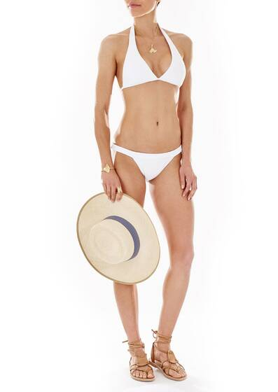 Bikini Top and Briefs Formentera, Halter Padded in White