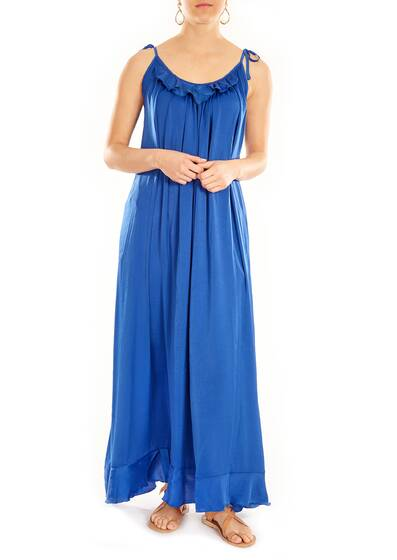 Olivia Boho Dress, royal blue