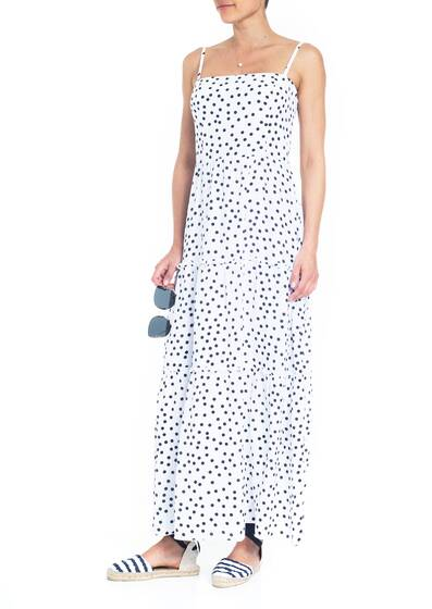 SM SQU Maxi Dress, white/blue dotted