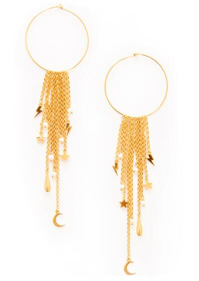 Earrings Falling Moon Star