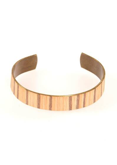 Zebrawood Bracelet Made of Wood and Brass