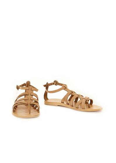 Black Cave Leather Sandals Khaki Beige