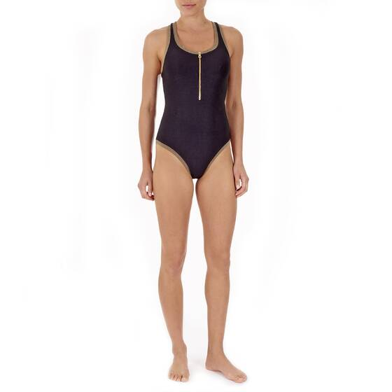Swim Suit Black with Gold Zipper