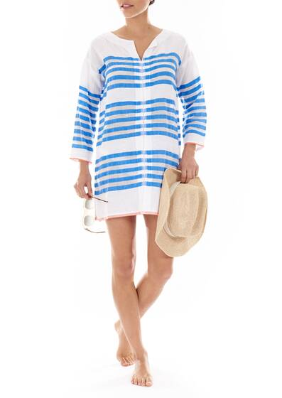 Caftan Tunic Zare in Cotton-Blend Gauze, Striped White/Blue