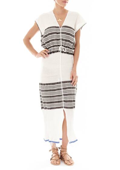 Dress Safara Patio, Cotton-Blend Gauze, White/Dark Heather Grey
