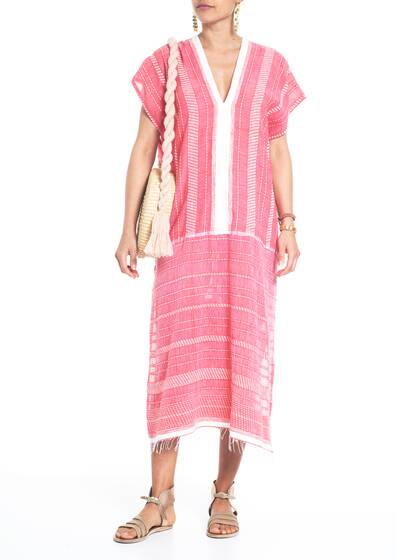 Saba long Caftan, red