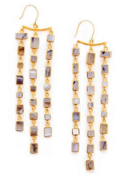 Earrings Afghanistan Sasaani Agate Triple Drop, 18KT Gold