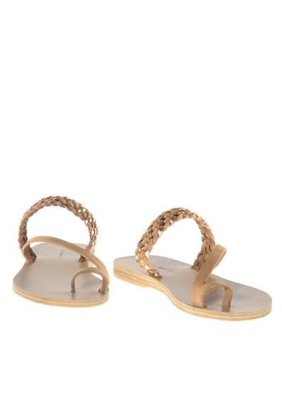Nanou Leather Sandals Tan/Rose Metal