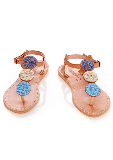 Isco Flat Sandals, brown/blue