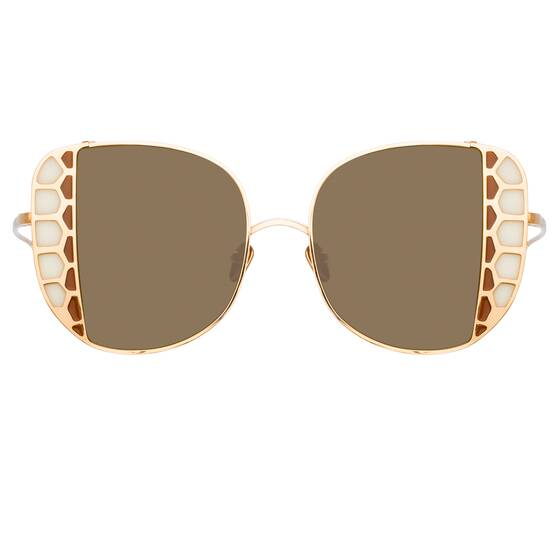 AMELIA Oversized Sunglasses In Yellow Gold