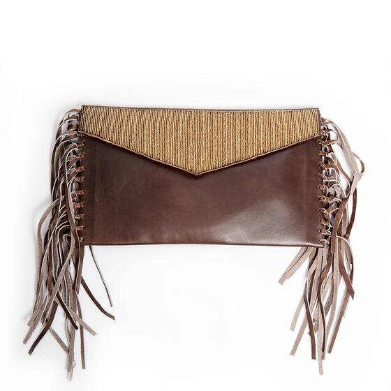 Clutch in Braunem Leder