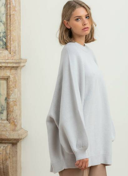 Cashmere Wool Maxi Jumper, cream