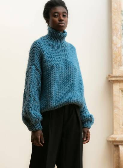 Chunky Lace Pullover, blau