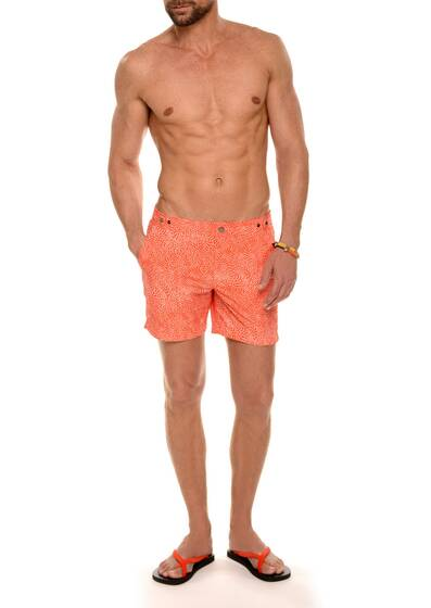 Badeshorts aus Nylon, Orange Sunset/Weiss gemustert