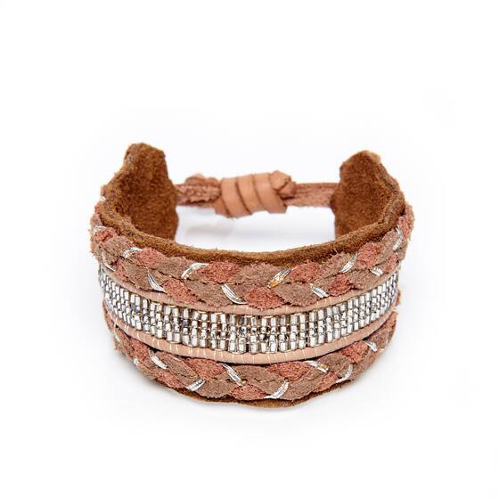 Wristband in Brown Leather with Embroidered Details