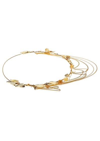Hairband Citrine Gold Plated with Semi-Stones