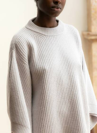 Cashmere Fisherman Jumper, cream