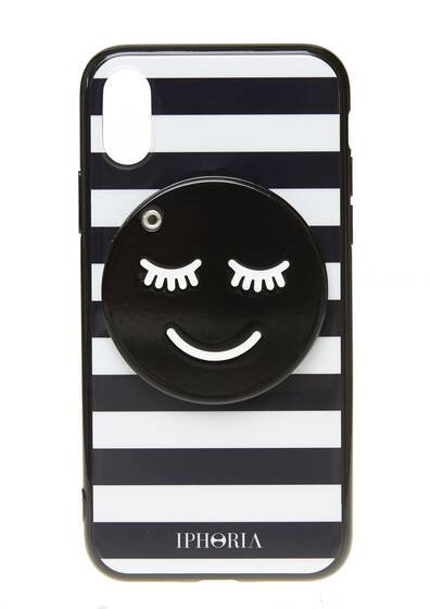 I-Phone X Hülle – Striped Smiley mit Spiegel für Apple