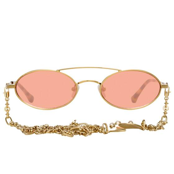 Oval Sonnenbrille Alessandra Rich x Linda Farrow