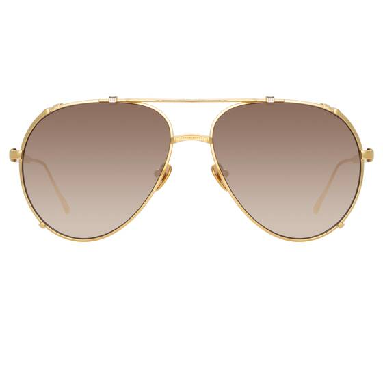 NEWMAN AVIATOR Sunglasses In Yellow Gold