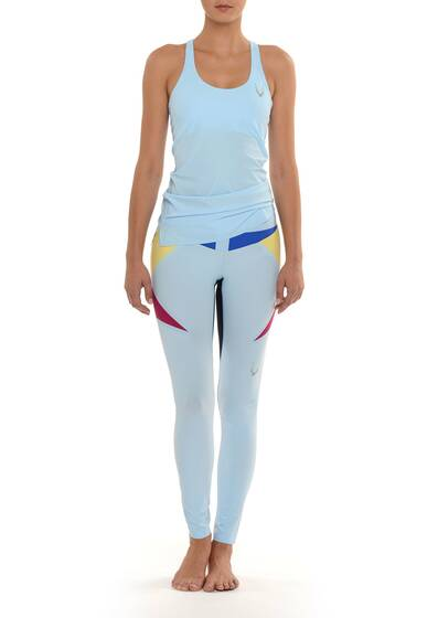 Paragon Stretch-Leggings Hellblau mit mehrfarbiger Color-Block-Optik