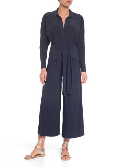 Ty front NK shirt cropped straight leg Jumpsuit, pewter