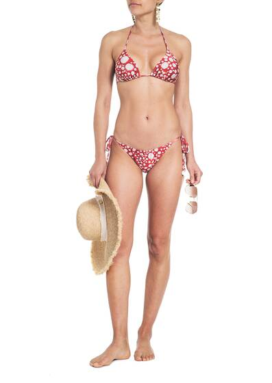Triangle Bikini im Ray Fish Muster , rot
