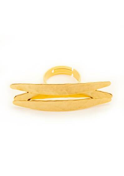 Ring Golden Horizontal Koyo, gold-plated, 18-carat gold, Yellow Gold