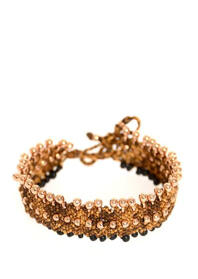 "Fussband ""Kate Anklet"" Schwarze Perlen, Golden Version"