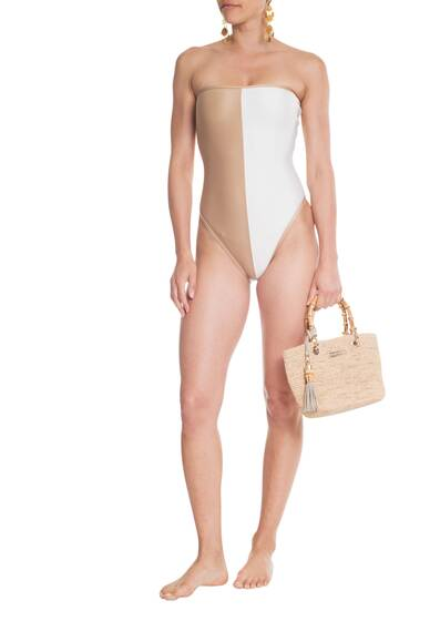 Two Color Strapless Swimsuit, off-white/nude