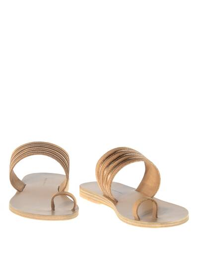 Rainbow Leather Sandals Tan/Rose Metal