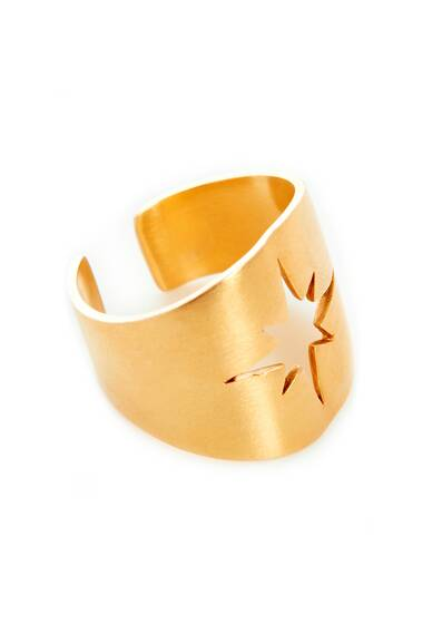 North Star Open Ring, gold plated