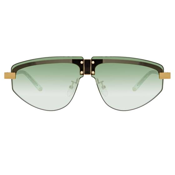 Hyacinth Aviator Sonnenbrille in Gelbgold - Matthew Williamson x Linda Farrow