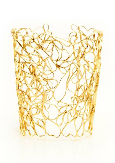 Cuff Golden Lace, gold plated, 18-carat, Yellow gold
